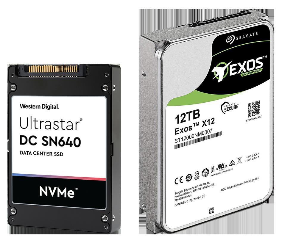 """Western Digital Ultrastar SN640 в форм-факторе SFF 2.5"""" (слева) и Seagate Exos X12 в форм-факторе LFF 3.5"""" (справа)"""